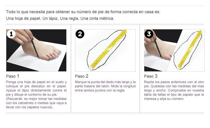 Zapatos Guía de medir